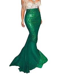 DPWELL Traje de Sirena para Mujer Vestido de Lujo Lentejuelas Traje de Cola de Pescado Falda