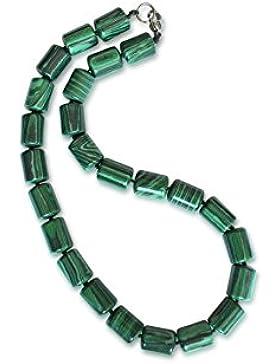 Malachit Halskette, Zylinder, 10x14mm