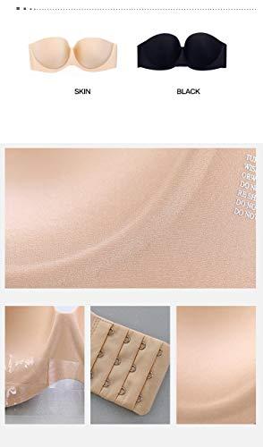UKKD BHS für Frauen, kabellos, modische Größe, weich, schwarz, nahtlos, trägerlos, unsichtbar, Bralette-BH, Push Up Gr. B, hautfarben - 6