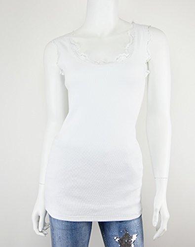 ... süßes Spitzentop Tanktop Damen Lacetop Rippen Shirt Spitze S M 36 38 40  (8137) Weiß
