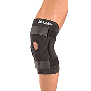SDA Hinged Knee Brace Stabilized Open Knee Support By Mueller - x2 Flexible Stays Added Support Helps injured arthritic knees, strains, pain, ACL & Meniscus Tear - Knee Cap Protection Patella - Large