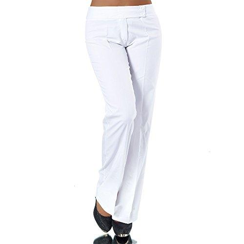 H326 Damen Business Stoffhose Elegante Bootcut Hose Classic Schlaghose Schlag, Farben:Weiß, Größen:40 L (Etikett T4)