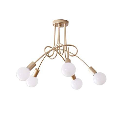 3 Light Semi Flush Kronleuchter (OOFAY LIGHT Vintage Kronleuchter Deckenleuchte, 3 Lichter 5 Lichter Industrial Antique Metal Semi Flush Mount Kronleuchter,Gold,5Heads)