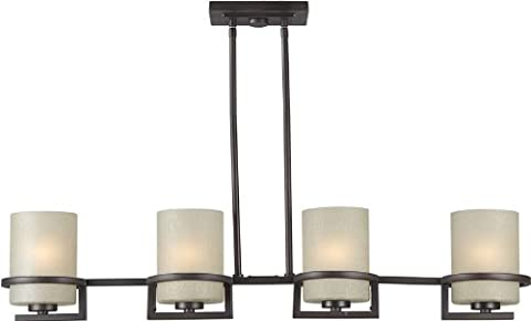 Forte Lighting 2404-04-32 Transitional 4-Light Island Pendant with Umber Linen Glass, Antique Bronze Finish by Forte
