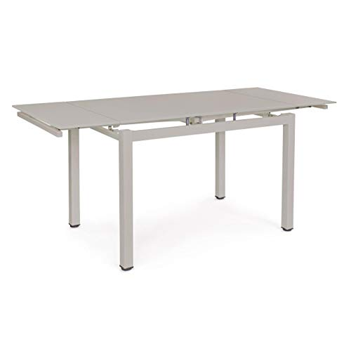 ARREDinITALY Table allung Plan Verre Taupe 110/170 x 74