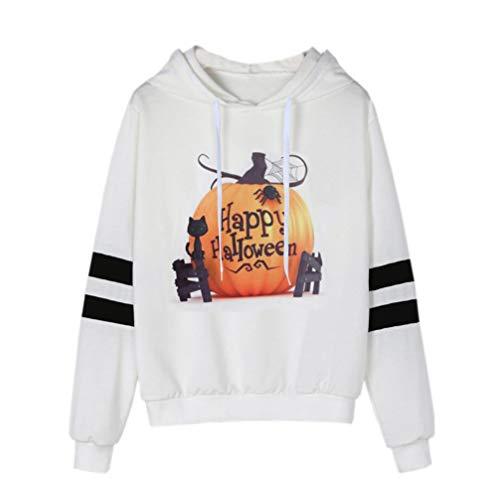 MIRRAY Damen Halloween Bedrucktes Sweatshirt Langarm Lässiges Kapuzenshirt Bluse Halloween Kostüm