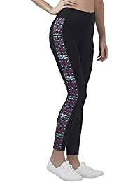 Veloz Women Sports Legging (Full Length) / High Waist/Stretchable Gym Tights/Yoga Pant for Women with Reflective Tape and mesh Patch/Printed Leggings - 0N