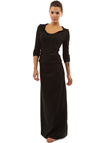 PattyBoutik femmes robe blouson maxi à capuche avec poche Noir