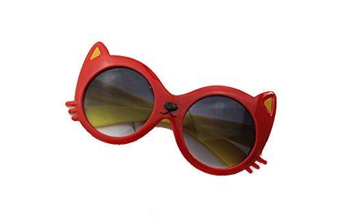 Dasuke 1x Gafas para niña, niñas Gafas de Sol 2016, Cute Cat, Rojo