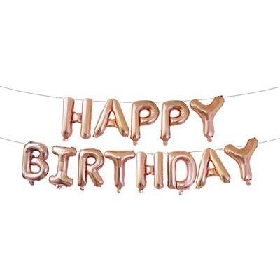 thematys Happy Birthday Party Ballon - Luftballons in 14 Erwachsene und Kinder Geburtstage (Beige)