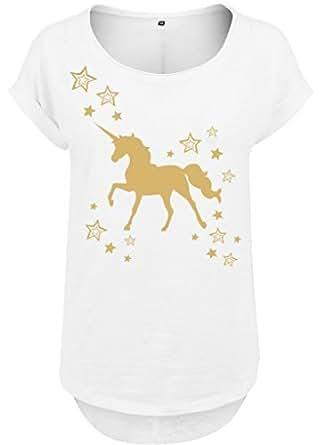 Ladies Donna Lungo Jille Tee T-Shirt Maglia estiva Maglia da donna Oro lucido Unicorno Stars Stelle Einhorn oro - bianco, XS
