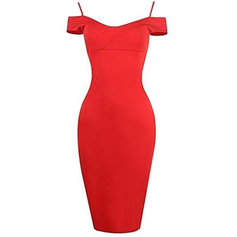 Femmes Collier V Bandoulière Rouge Robes en Crayon Spaghetti Robe de Soirée , red , xl