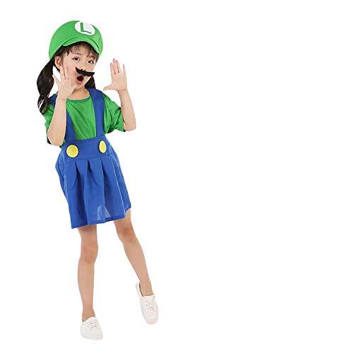 thematys Super Mario Luigi Mütze + Kleid + Bart - Kostüm-Set für Mädchen - perfekt für Fasching, Karneval & Cosplay - 3 Verschiedene Größen (L, Luigi, - Mario Mädchen Kleid Kostüm