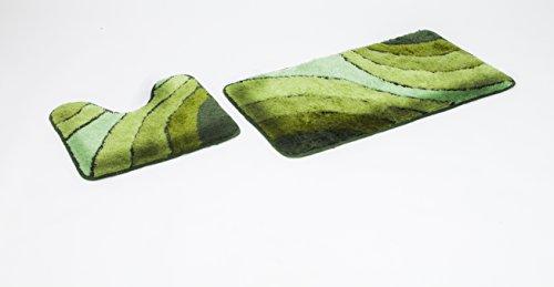 2- teiliges Badematten Set Wave grün mit Ausschnitt