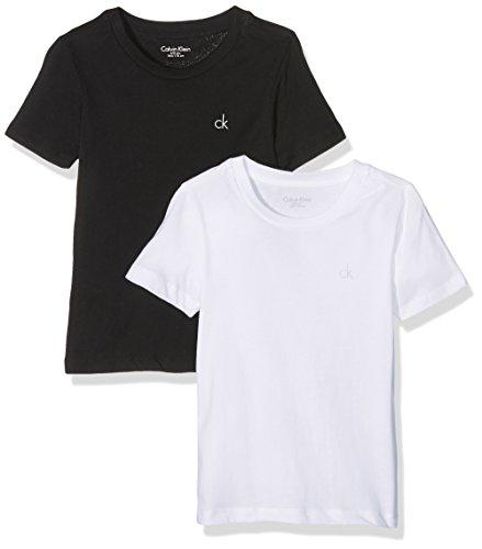 Calvin klein ss tee, t-shirt bambino, nero (black/white 908), 176 centimeters (taglia produttore: 14-16)(pacco da 2)