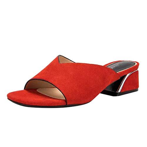 en/Dorical Frauen High Heels Sandalen Plateau Offen Pantoffeln Outdoor Slipper mit 5 cm Absatz Casual Sommer Abend Schuhe Flandell 35-41EU(Rot,41 EU) ()