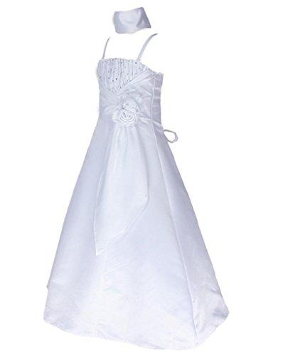 go2victoria Satin Brautjungfern Anlässe Festzug Blumenmädchen Kleid Weiß Gr.128/134 (W6001-8#) (Victoria Rose Kleider)