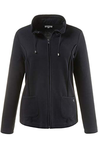 Großer Kragen Jacke (Gina Laura Große Größen Damen Sweatjacke Selanik Blau (Dunkelblau 70), Large)