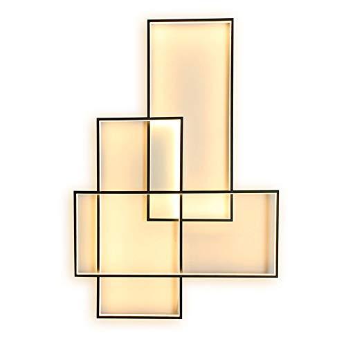LED Plafonnier Applique Murale 3000K lumière chaude Lampe de plafond Moderne Noir Rectangle Désign Abat jour Applique pour Chambre Salon Cuisine Salle à manger Loft Escalier Couloir, L67CM