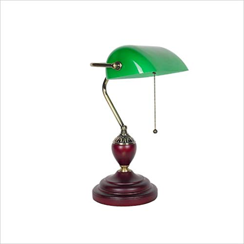 JZX Leseschreibtischlampe, Studentenwohnheimtischlampe-Reißverschlussschalter Administrative Banker'S Lampe, Glaslampenschirm Antik Messing E27 Led-Licht Brass 23X42Cm