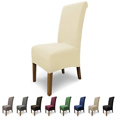 Scheffler-home emma set di 2 copertura sedia, cotone elasticizzato fodere, stretch protezione con banda elastica, panna