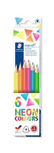 Staedtler Buntstifte ergosoft (erhöhte Bruchfestigkeit, ergonomische Dreikantform, rutschfeste Soft-Oberfläche, Set mit 6 brillanten Neon-Farben, Kartonetui, 157 C6P1)