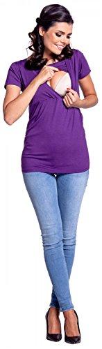 Zeta Ville - Damen Zweilagiges Still T-Shirt Top für Schwangere Kurzarm - 790c Lila