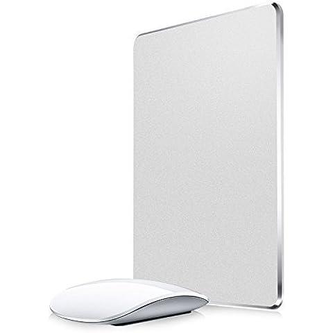 Gaming Mouse Pad, Aerb Alluminio tappetino del mouse in con base in gomma antiscivolo per Veloce e preciso per il controllo (argento)