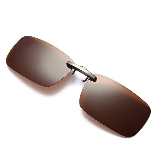 FRAUIT Herren Abnehmbare Nachtsichtlinse Sonnenbrillen, die Metall polarisierten Clip auf Brille Sonnenbrillen fährt Auto Nachtsicht Brille: Nachtsicht-Brillenclip polarisiert UV400