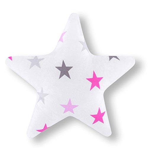 AMI Lian® Almohada Estrella Grande Color Rosa De Estrellas Decoración Cojín agradable Zambaiti aprox. 28cm