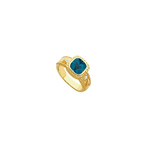 Genuine London Blue Topaz and Diamond Ring 14K Yellow Gold 2.05 CT TGW