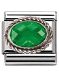 Nomination Composable Women's Bead Classic Faceted Czech Steel Silver 925 + Emerald Green Stone TixBr