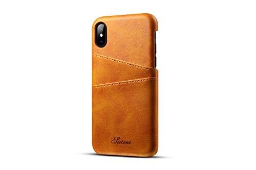 TACOO iPhone X Leder Case, Super Slim Soft Schutz Zwei Kreditkarte Slots Ultra Dünn Handy Back Cover für Apple iPhone 102017, Khaki Samsung Super-slim