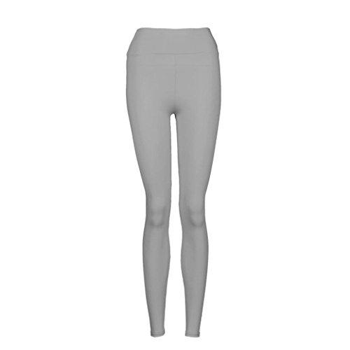 Pantalon de Yoga femmes,Jimma Femmes Yoga Leggings d'entraînement Gym Sports pantalon taille haute Fitness pantalon Stretch Gris