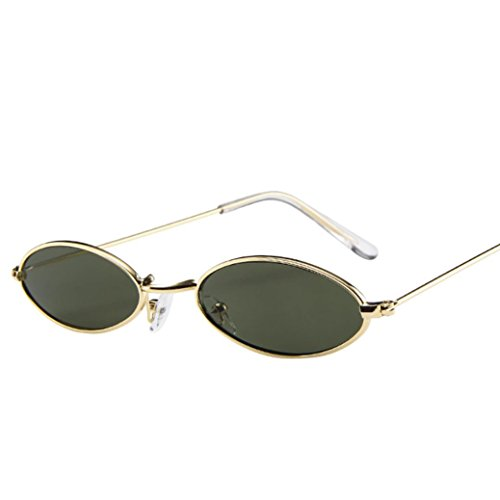 Fashion Mens Womens Retro Small Oval Sunglasses EUZeo Metal Frame Shades Mini Eyewear (F)