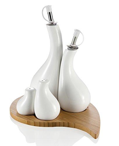 Brandani 55452 Menage goccia, olio aceto sale e pepe,  in porcellana bianca con supporto bamboo