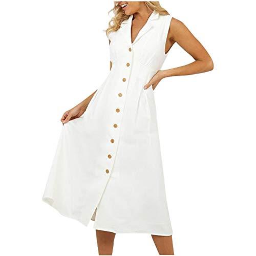 LOPILY Basic Blusenkleid mit Knopfen Ärmellos Einfarbiges Kleid Business Causal Midikleid V-Ausschnitt A-Linie Shirtkleid mit Taschen Lässiges French Style Kleid (Weiß, EU-38/CN-L)