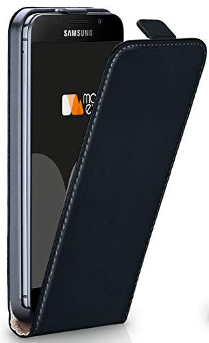 MoEx® Flip Case mit Magnetverschluss [Rundum-Schutz] passend für Samsung Galaxy A3 (2016) | 360° Handycover aus feinem Premium Kunst-Leder, Schwarz