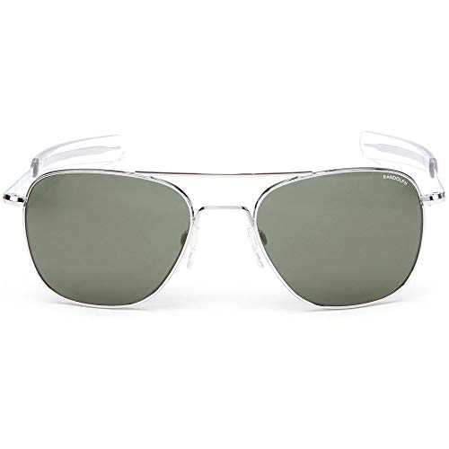Randolph Sunglasses Aviator Bright Chrome AGX Glass 52 AF026 NEW