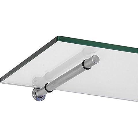 IB-Style - Reggimensole SATINATO scaffale di vetro scaffale da muro mensola di vetro scaffale in vetro trasparente 60 x 20 cm / 8 mm - STICK in metallo colore inox ottica nickel