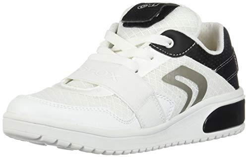 Geox XLED Boy J927QB Jungen High-Top Sneaker,Kinder LED Licht Text,Schnürung,Sportschuh,Mid Cut Sneaker,White/Black,35 -