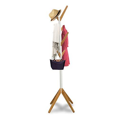 Zedelmaier Bambus Garderobenständer Kleiderständer mit 8 Haken für Flur Diele Wohnzimmer oder Wartezimmer Weiß