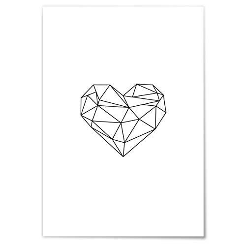 JUNIWORDS Poster mit/ohne Holzrahmen - Origami Herz Outline - Wähle eine Größe - 30 x 40 cm (M) ohne Rahmen