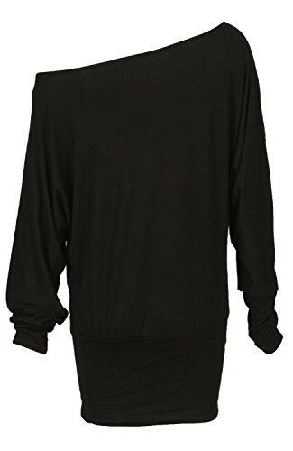 Fast Fashion - En Haut Manches Longues Sur L'épaule Off Embrassez Moi Me Bercer Fille Foil Batwing - Femmes Noir