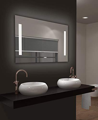Talos LED Badspiegel Star, Lichtfarbe 4200K, Digitaluhr, 80 x 60 cm silber