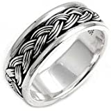Bling Jewelry Men Sterling Silver Braided Band Ring