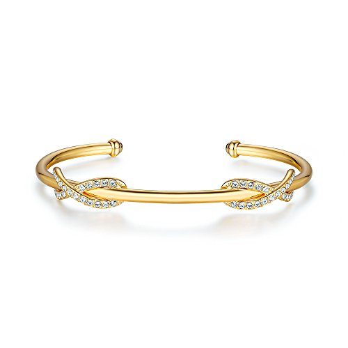 MYJS Double Infinity Cuff Bangle with Swarovski Crystal Gold Plated