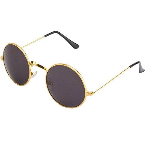 Silver Kartz Classic Round Unisex Sunglasses (wy136|50|Black)