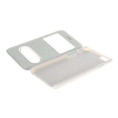 UKDANDANWEI Apple iPhone 6 PLUS [CJ] Case - Magnetisch Leder Tasche Flip Case Cover Schutzhülle Etui Hülle Schale mit Fenster Ansicht Für Apple iPhone 6 PLUS - Braun G1-Weiß
