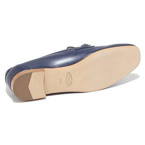 96442 mocassino blu TOD'S CUOIO SP CATENA scarpa donna loafer shoes women Blu